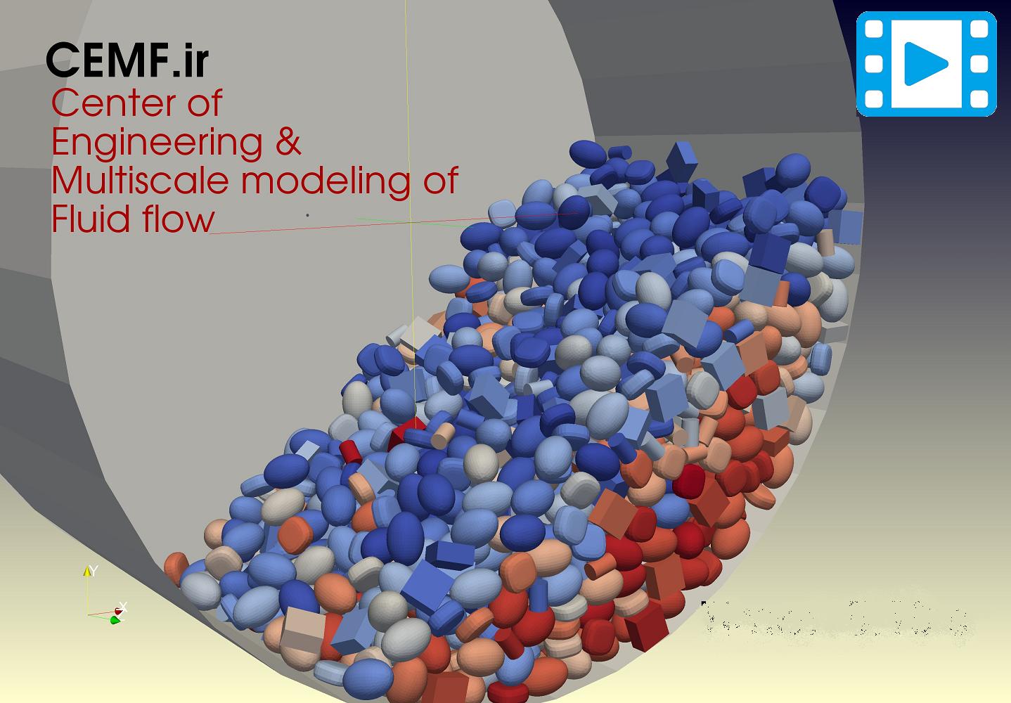 DEM Rotating Drum non-spherical particle